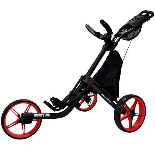 CaddyTek EZ Tour Quickfold Deluxe - Trolley da golf a 3 ruote, pieghevole, completo con borsa termica – Modello 2020 – Qualità da rivenditore tedesco (nero-rosso)