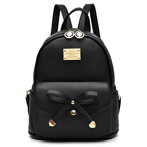 GTESCO Mini Backpacks Purse for Teen Girls Cute Leather Waterproof Small Fashion Designer Backpack for Women (Black)