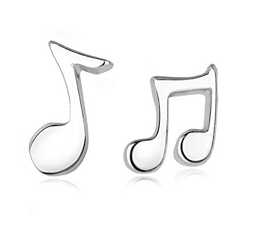 Fablcrew, orecchini alla moda a forma di nota musicale, gioielli da donna, in argento, per anniversari e fidanzamenti, 1 coppia