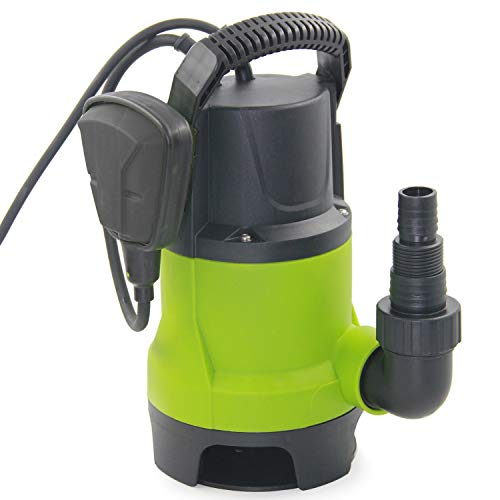 FLUENTEC 400W Portable Submersible Pump for Dirty/Clean Water, Max Flow 8000L/H Electric Sump Pump for Garden Pond, Pools, with Float Switch