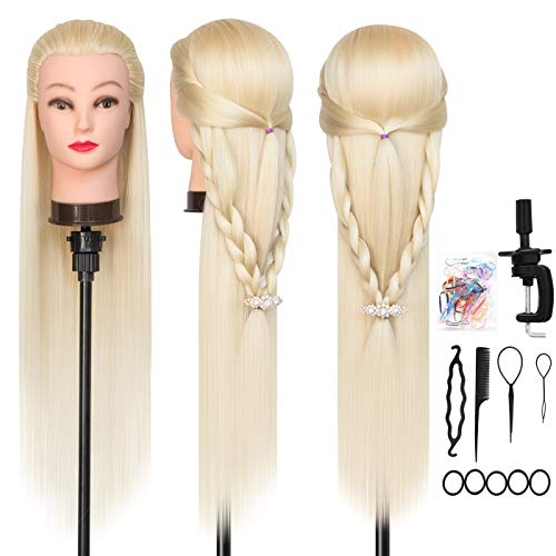 "DANSEE Mannequin Head Hair Styling 28"" Training Head Manikin Cosmetology Doll Head Synthetic Fiber Hair with DIY Braiding Set+ Free Table Clamp (Blonde)"