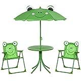 Set Tavolino e 2 Sedie Pieghevoli da Giardino per Bambini con Ombrello Verde Rana