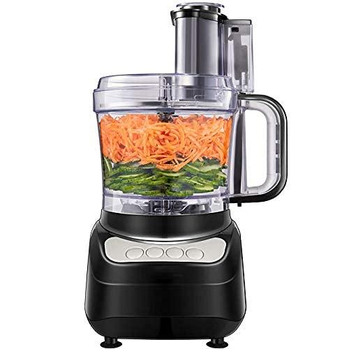 Küchenmaschine, 2L Food Processor, 4 Geschwindigkeit Elektrische Reibe, Fleisch Zerkleinerer inkl Knethaken, Gemüse Elektrisch und Umrühren, Schneiden, Würfeln, Kneten, Hacken