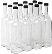 North Mountain Supply - W5CTCL-BKP 750ml Clear Glass Bordeaux Wine Bottle Flat-Bottomed Screw-Top Finish - with 28mm Black Plastic Lids - Case of 12