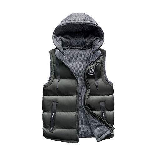 CHIYEEE Heren Down Cotton vest staande kraag gewatteerde outdoor jassen dikker warm mouwloze mantel met capuchon L-XXXL