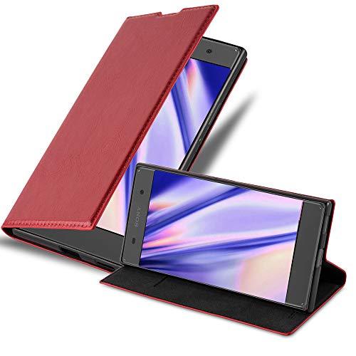 Cadorabo Hülle für Sony Xperia XA in Apfel ROT - Handyhülle mit Magnetverschluss, Standfunktion & Kartenfach - Hülle Cover Schutzhülle Etui Tasche Book Klapp Style