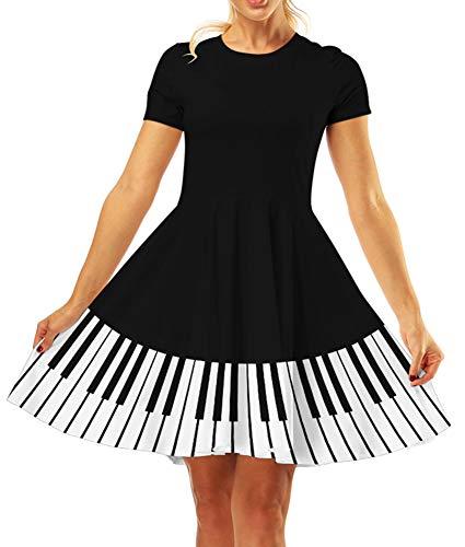 GLUDEAR Women's 3D Print Short Sleeve Unique Casual Flared Midi Dress,Piano,S/M