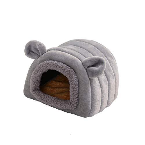 Warmes Hamsterbett für den Winter, für kleine Tiere, Schlafhöhle, Baumwollnest, Käfigzubehör für Meerschweinchen, Zuckergleiter, Chinchilla, Igel (17 x 17 x 15 cm, grau)