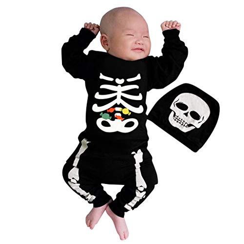 Baby Halloween T-shirt met doodskopprint, broek, gestreept, hoed, 3-delige set voor kinderen, lange mouwen, klein, Diablo Vampier, kind, speelgoed, hoed, sokken, luier