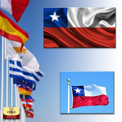 Adatech Vlag van Chili 150x90cm -Chileense Vlag 90 x 150 cm Licht Polyester