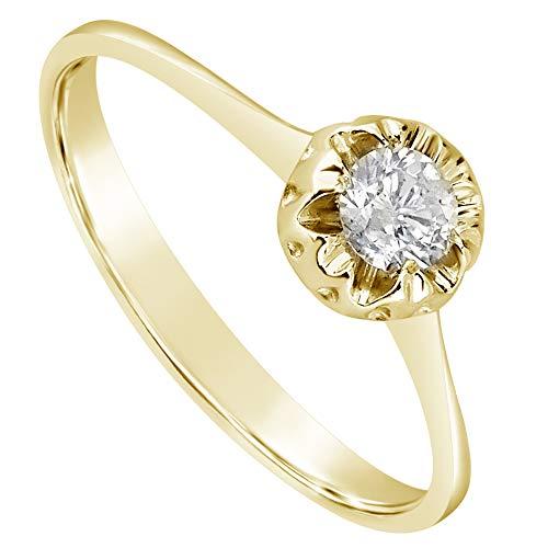 MILLE AMORI ∞ Anillo Compromiso mujer Oro y Diamantes ∞ Oro Amarillo 9 Ct 375 Diamantes 0.18 Quilates ∞ Colección Diadema + Luz + Volumen