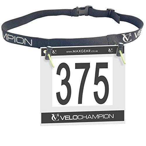 VeloChampion Cintura di Numero da Gara Cintura da Triathlon Maratona Porta Gel Cintura per Gli Atleti Cintura Corsa Ciclismo (Cintura di Numero)