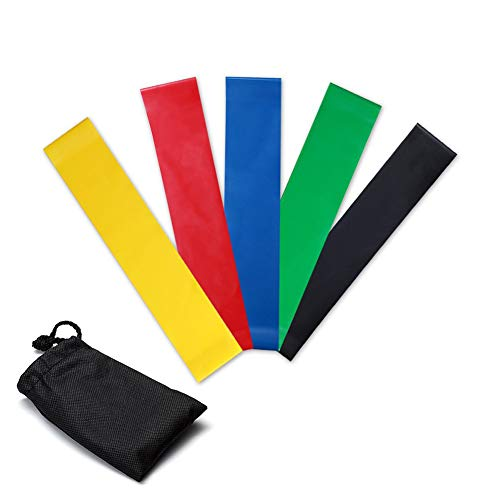 Weerstandsbanden, [set van 5] Huidvriendelijke weerstandsoefening Loopbanden met 5 verschillende weerstandsniveaus - Inclusief gratis draagtas - Ideaal voor thuis, sportschool, yoga, training