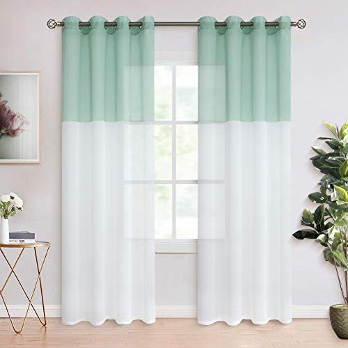 BGment Color Block Sheer Curtains for Living Room - Faux Linen Grommet Light Filtering Semi Sheer Window Curtain Panels for Bedroom, Set of 2 Panels ( Each 52 x 84 Inch, Bean Green )