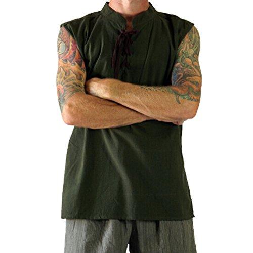 JIXUAN Costumi Cosplay di Halloween da Uomo Gilet Senza Maniche Tinta Unita Retro Knight Warrior Shirt Stand Cinghie Colletto Open Top