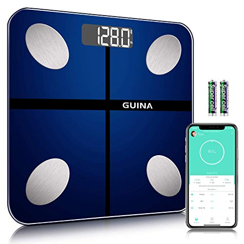 Body Fat Scale Bluetooth Digital, Bathroom Scale with BMI, Weight Scale with Body Fat Scale with 4 Hight Precision Sensors,Shatter-Resistant Tempered Glass and APP(Blue)