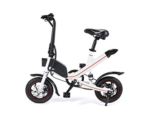 Motorrad Mini Folding Elektroauto, Erwachsene Zwei-Rad-Mini-Pedal Elektroauto, Tragbare Falten Travel Battery Car, Outdoor Motorrad Tour Fahrrad,Weiß,36V