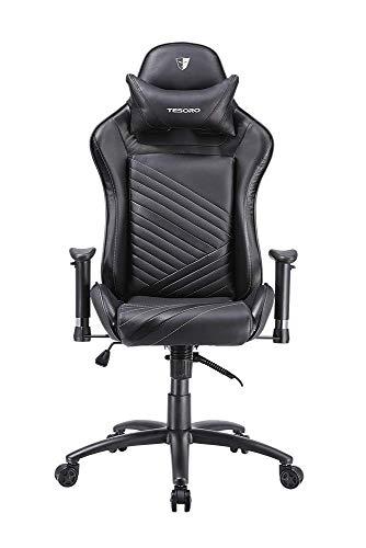 Tesoro Zone Speed F700 Gaming Stuhl Schwarz/Black Wippfunktion und verstellbare Armlehnen Chefsessel Schreibtischstuhl Gamingstuhl mit PU Kunstleder und Lordosenstütze Lendenkissen
