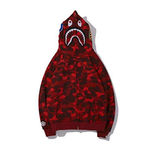 Sweatshirt-Jacke mit Kapuze mit Hai- und Camouflage-Print, Baumwolle, lockere Passform, Reißverschluss, Hip Hop-Hoodie-Hacke für Damen und Herren, rot, Medium