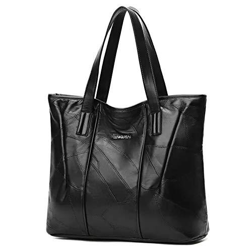 RRomaS Bolso Piel Negro mujer mediano, Piel autentica de Cordero,bolso hombro mujer,bolso Tote negro cuero mujer.Con cremallera,Forro interior plastico ,Capacidad tablet