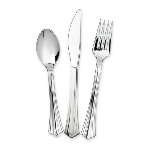Knives /& Spoons Strong Cutlery Reusable Fancy Silver Metallic Plastic Forks