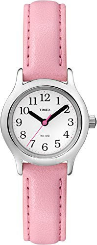 Timex Girls' My First Easy Reader Quartz Analog Synthetic Leather Strap, Pink, 12 Casual Watch (Model: T79081)