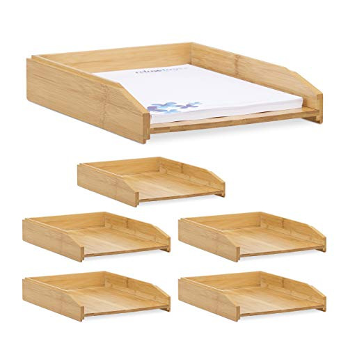 Relaxdays 6 x Dokumentenablage, stapelbar, DIN A4 Papier, Büro, Schreibtisch, Briefablage aus Bambusholz, 6 x 25 x 33 cm, Natur