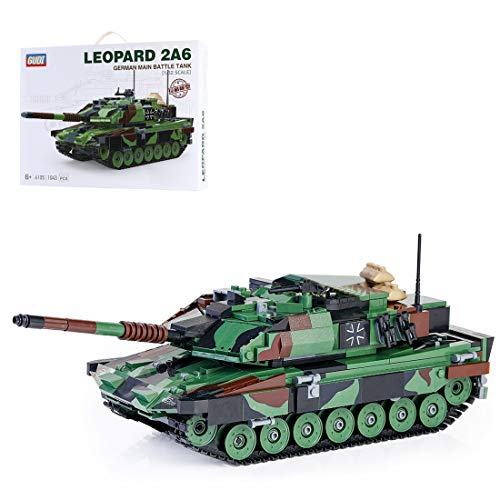 PEXL Technik Panzer Bausatz, Bausteine Panzer Modell Leopard 2A6 Militär Panzer Modellbausatz 1043 Klemmbausteine Kompatibel mit Lego Technik