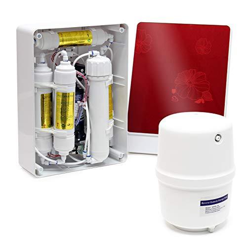 Naturewater Equipo filtración osmosis inversa (RO) 5-Etapas 180l/día Con bomba de aumento de presión