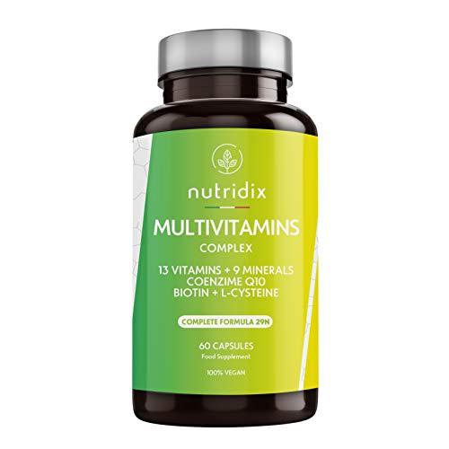 VITAMINE E MINERALI. Nutridix formula multivitaminica contiene 13 vitamine (vitamina A, B1, B2, B3 (niacina), B5 (acido pantotenico), B6, B7 (biotina) B12, C, D, D, E, K, B9 (folato)) e 9 minerali (ferro, zinco, rame, manganese, selenio, iodio, molib...