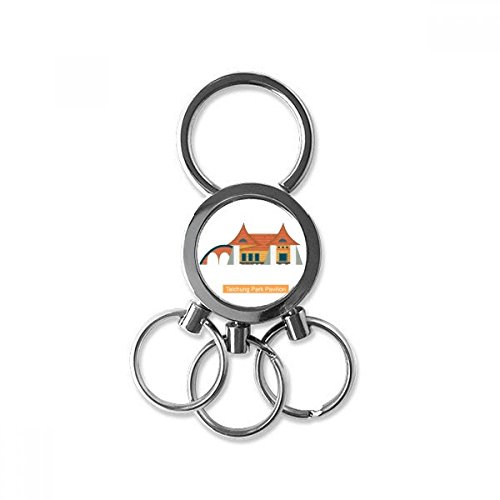 Taiwan Attracties Taichung Park Paviljoen RVS Metalen Sleutelhanger Ring Auto Sleutelhanger Clip Gift