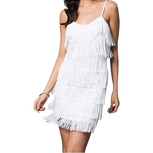 Writtian Charleston Kleid 20er Jahre Damen Sexy Troddel V Ausschnitt Retro Cocktail Party Fasching Kostüm Kleid Schulterfrei Kleider Nachtclub Minikleid Wickelkleid