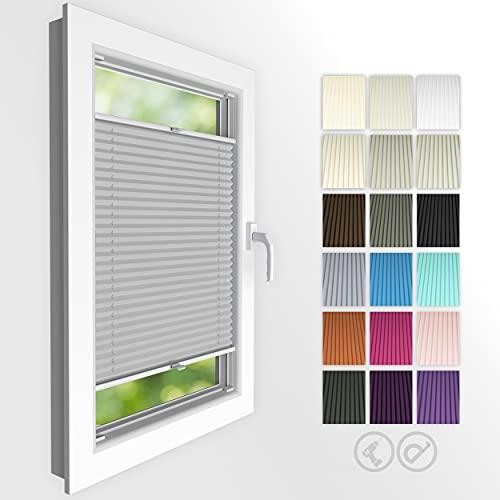 4dekor Plissee nach maß, Plissee mit Bohren, Breite 30-130 cm, Höhe 50-150 cm, 18 Farben, Schalosien Fenster innen, Faltrollos für Fenster Sicht- und Sonnenschutz, Rollo für Fenster...