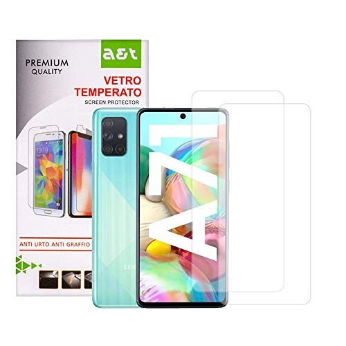 A&T Tempered Glass for Samsung Galaxy A71 Anti-scratch Screen Protector Bubble-free Easy to open 2 pieces + 1 Transparent Anti-Skid Soft Washable Cover that Protects from Drops