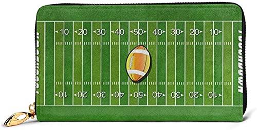 Kvinnors Tryckta Dragkedja Runt Plånböcker Clutch Purse Card Holder Organizer-Black-One Size, American Football Field Ball Sport Printed Leather Wallet