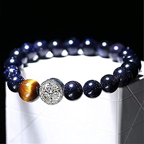 Pulsera china Pulsera hecha a mano Feng Shui Feng shui riqueza pulsera azul arenisca pulsera amuleto con ojo de tigre ornamento de piedra natural cristal semiprecioso atrae suerte dinero brazalete reg