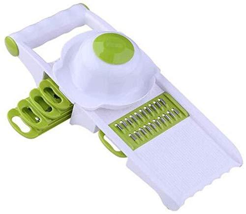 SLRMKK Gemüsehacker, Küchen-Multifunktions-Gemüsehacker, Haushaltsobst, Gemüsehacker, Aufschnittmaschine, Würfelmaschine, Küchenassistentin, Grün (5 Klingen) + Handschutz (Farbe: Grün, Größe: 28,