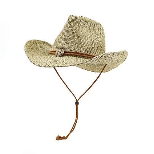 Azly-Caps Paille avec des Chapeaux de Cowboy de Ceinture, Chapeaux de Soleil Pliables de Panama Unisexe avec la Ficelle de Cou de Cordon pour la Plage Large Bord Occidental