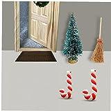 WYDM Navidad Miniatura Bastones de Caramelo casa de muñecas Mini Santa Claus Adornos de Palo Resina Trenzado Micro Paisaje decoración del árbol de Navidad 2 uds