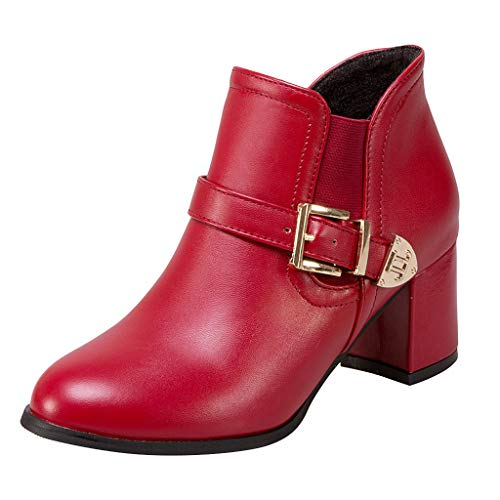 Tohole_Boots Stiefeletten Damen Leder mit Absatz Kurze Reissverschluss Bequem Stiefel Winter Schuh...