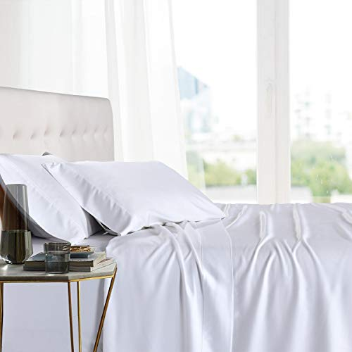 Royal Tradition Exquisitely Lavish Body Temperature-Regulated Bedding, 100% Viscose from Bamboo, 300 Thread Count, 4 Piece Queen Size Deep Pocket Silky Soft Sheet Set, White