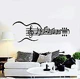 Guitarra Instrumento Vinilo Tatuajes de pared Guitarra Notas musicales Dormitorio Sala de estar Pegatinas Arte removible Decoración del hogar Wellpaper 57X153cm