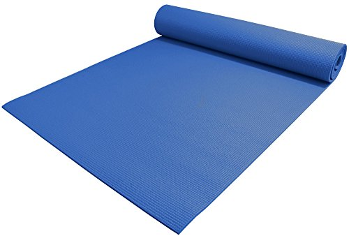 YogaAccessories 1/4' Thick High Density Deluxe Non Slip Exercise Pilates & Yoga Mat (Dark Blue)