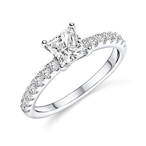 Silber Ring 925 Verlobungsringe von AMOONIC mit Zirkonia Damen-Ring Vorsteckring Stein quadratisch Ehering Trauring dünn schlicht schmal FF590 SS925ZIFAZIFA52