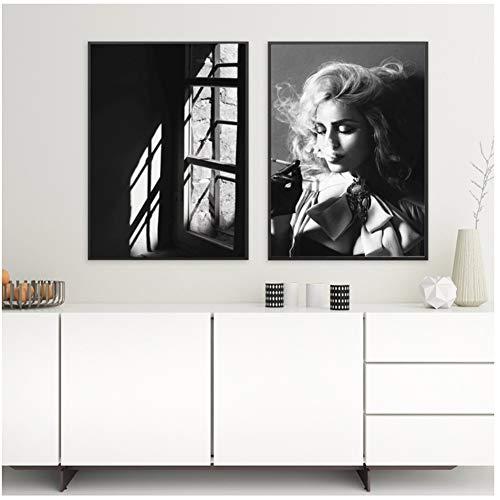 Roken Meisje Raam Muur Canvas Schilderij Zwart Wit Ballerina Nordic Posters En Prints Muur Foto 'S Voor Woonkamer Bar - 50x70cmx2pcs - Geen Frame
