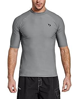 BALEAF Men s Short Sleeve Rashguard Swim Shirt UPF 50+ Sun Protection Rash Guard Grey XXXL