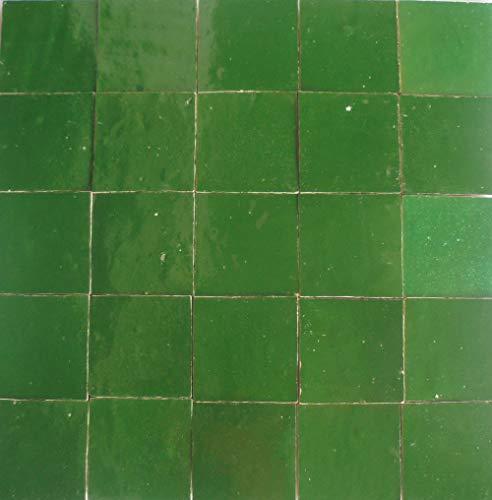20Stk. Tonfliesen glasiert Zelliges 10x10x1,2cm Fliesen Marokko - Handarbeit (smaragdgrün)