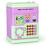 PINKE Juguete ATM Niños Hucha Electrónica Multifunción Juguetes Automáticos Que Funcionan Con Monedas Juguetes De Educación Temprana Para Niños (12 Botones)(Purple)