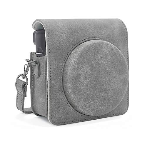 Phetium Schutztasche Kompatibel mit Instax SQ 6 Ex D Sofortbildkamera, Kameratasche mit Weichem PU Leder Material und Schulterriemen (Grau)