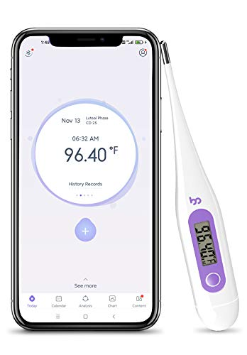 High Precision Thermometer for Fever, 1/100th Degree Digital Body Thermometer with Memory Recall, Waterproof Basal Thermometer for Fever and Natural Family Planning, Light Purple